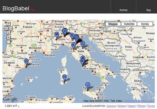 Geolocalizzazione in BlogBabel