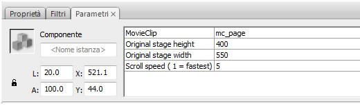 Scroller Fullscreen parametri